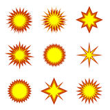 Explosion icon set. Fire icons, flame symbols Royalty Free Stock Images