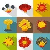 Explosion icon set, flat style. Explosion icon set. Flat style set of 9 explosion vector icons for web design Royalty Free Stock Image