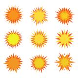 Explosion icons. Humor Explosion icon set. Bursting and fire symbols Stock Image