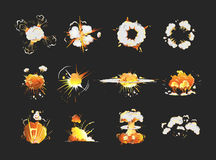 Explosion icons set. Explosion icons set on black background. Cartoon comic boom effects Stock Images