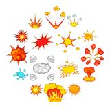 Explosion icons set, cartoon style. Explosion icons set. Cartoon illustration of 16 explosion vector icons for web Stock Images