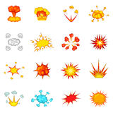 Explosion icons set, cartoon style. Explosion icons set. Cartoon illustration of 16 explosion vector icons for web Royalty Free Stock Image