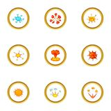 Explosion icons set, cartoon style. Explosion icons set. Cartoon style set of 9 explosion vector icons for web design Stock Images