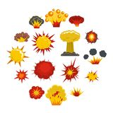Explosion icons set in flat style. Isolated vector illustration Royalty Free Stock Photography