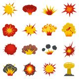 Explosion icons set in flat style. Isolated vector illustration Stock Image