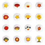 Explosion icons set in flat style. Isolated vector icons set illustration Stock Photos