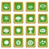 Explosion icons set green Royalty Free Stock Photos