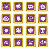 Explosion icons set purple. Explosion icons set in purple color isolated vector illustration for web and any design Stock Photography