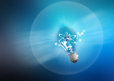 Explosion of ideas. Light bulb lamps on a colour Royalty Free Stock Photography