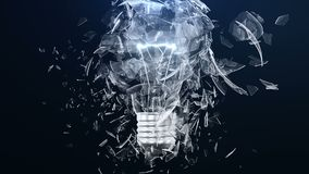 Explosion of an incandescent lamp or ligh bulb. Small pieces of glass fly apart in different directions. The effect of. Slowing down the time after the stock video footage