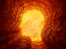 Explosion inside a face shaped tunnel Stock Photos
