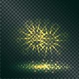 Explosion jaune de la pyrotechnie sur transparent illustration de vecteur