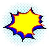 Explosion jaune et bleue de calibre vide, bulle de la parole Style comique de bande dessin?e Art de bruit illustration libre de droits