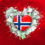 Big love to Norway over white heart. Explosion of love towards over colorist background Royalty Free Stock Photography