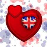 Love to Britain over red heart. Explosion of love towards over red heart Royalty Free Stock Images