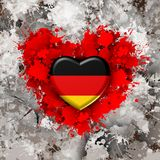 Love to Germany over red heart. Explosion of love towards over white heart Royalty Free Stock Photography