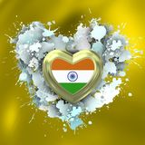Love to India over white heart. Explosion of love towards over white heart Royalty Free Stock Image