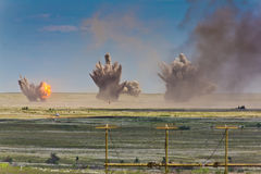 Explosion at a military training ground. Royalty Free Stock Images