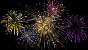 Explosion mit fünf Feuerwerken nachts lizenzfreie abbildung