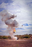 Explosion by movie special effects pyrotechnics Royalty Free Stock Photography