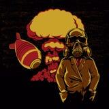 Explosion nucléaire, illustration de masque de gaz de crâne, illustration stock