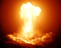 Explosion nucléaire lumineuse Images libres de droits