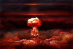 Explosion of nuclear bomb. Explosion of great nuclear bomb on background of clouds Stock Images
