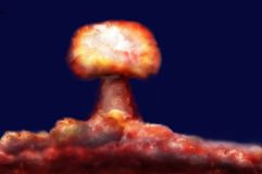 Explosion of nuclear bomb. Explosion of great nuclear bomb on background of clouds Stock Image