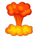 Explosion of nuclear bomb icon, cartoon style Royalty Free Stock Image