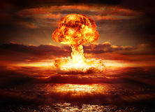 Explosion nuclear bomb. In ocean Royalty Free Stock Photo