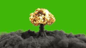 The explosion of a nuclear bomb. Realistic 3D animation of atomic bomb explosion with fire, smoke and mushroom cloud in