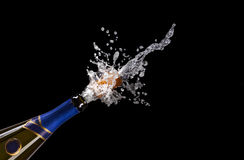 Explosion Of Champagne Bottle Cork Stock Photography