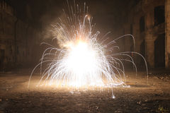 Explosion in the old hall Royalty Free Stock Photography