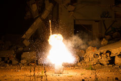 Explosion in the old hall Stock Photo