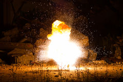 Explosion in the old hall Royalty Free Stock Photos
