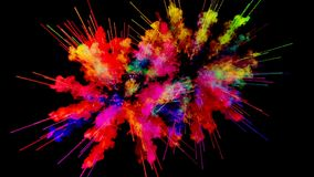 Firework of paint, explosion of colorful powder isolated on black background. 3d animation as a colorful abstract. Explosion of paint powder in slow motion royalty free illustration