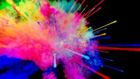 Firework of paint, explosion of colorful powder isolated on black background. 3d animation as a colorful abstract