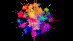 Firework of paint, explosion of colorful powder isolated on black background. 3d animation as a colorful abstract. Explosion of paint powder in slow motion stock illustration