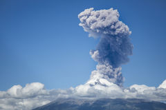 Explosion of popocatepetl volcano. On Monday morning the volcano popocatepetl recorded a small explosion, lifting a large amount of ash and offering a beautiful stock image