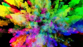 Explosion of powder isolated on black background. 3d animation of particles as colorful background or overlays effects. Explosion of powder on black background royalty free illustration