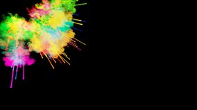 Explosion of powder isolated on black background. 3d animation of particles as colorful background or overlays effects