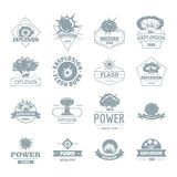 Explosion power logo icons set, simple style Stock Images