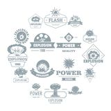 Explosion power logo icons set, simple style. Explosion power logo icons set. Simple illustration of 16 explosion power logo vector icons for web Royalty Free Stock Photography