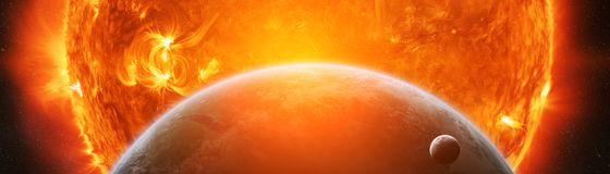 Explosion près des éléments de rendu de la terre 3D de planète de cet im illustration stock
