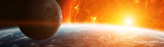 Explosion près des éléments de rendu de la terre 3D de planète de cet im Image libre de droits