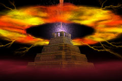 Explosion of pyramid. The abstract image of explosion of a pyramid Royalty Free Stock Photo