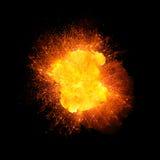 Explosion réaliste du feu sur le fond noir Photographie stock