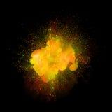 Explosion réaliste du feu sur le fond noir Image stock