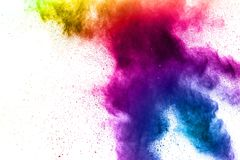 Explosion of rainbow color powder on white background. stock image