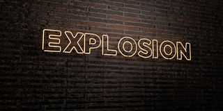 EXPLOSION -Realistic Neon Sign on Brick Wall background - 3D rendered royalty free stock image Stock Images